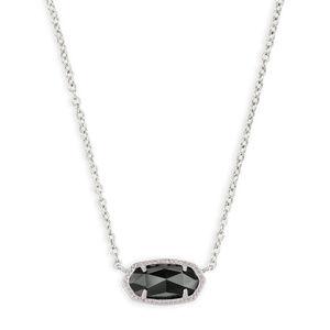 KENDRA SCOTT Elisa Silver Pendant Necklace Black
